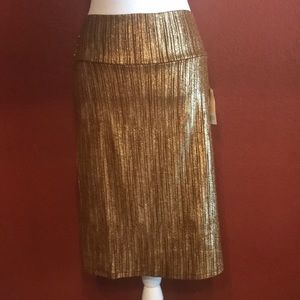 LuLaRoe Cassie gold and brown skirt